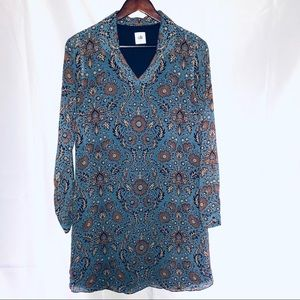 Cabi shirt dress fall blue/brown size Small lined